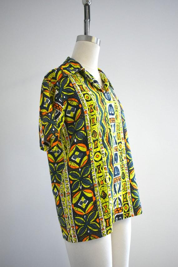 1950s/60s Tiki Barkcloth Men's Shirt - image 4