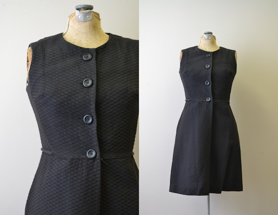 1960s California Girl Black Cotton Waffle Textured