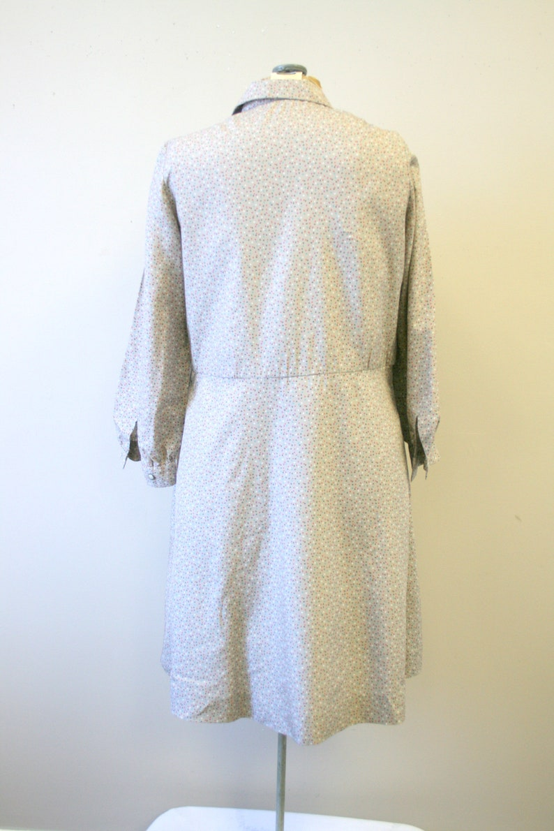 1970s Taupe Dotted Shirt Dress