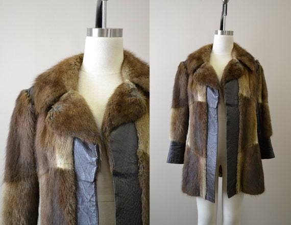 1970s Fur and Vinyl Coat