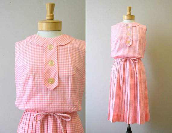 1960s Stacy Ames Pink Gingham Dress