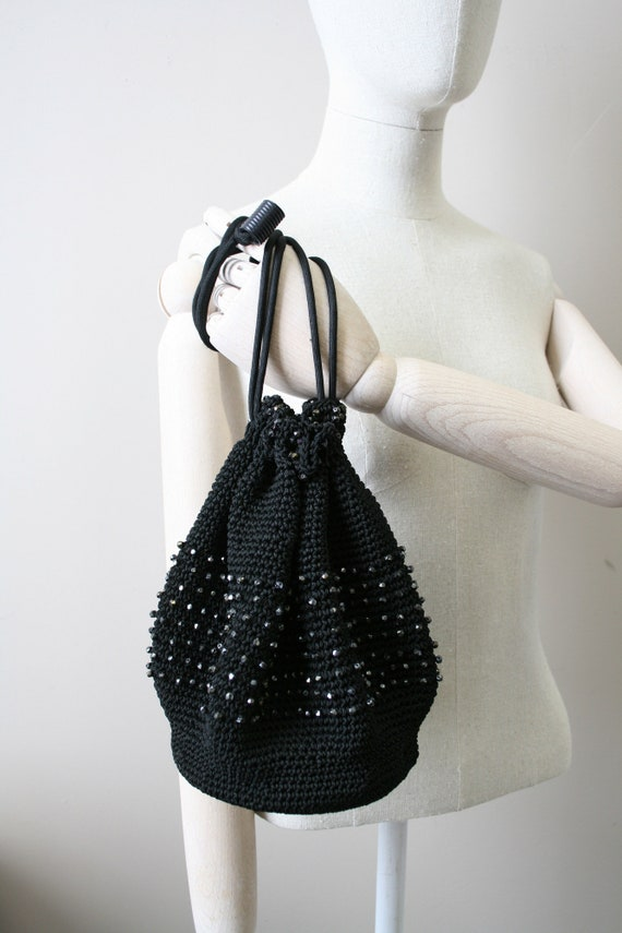 1930s Black Beaded Crochet Drawstring Purse - image 3