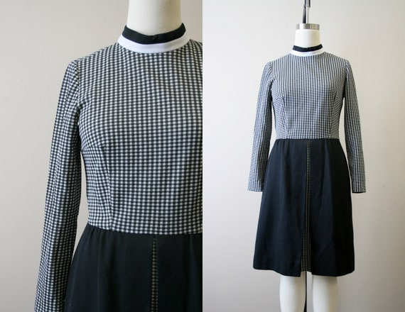 1960s Fred Rothschild Black and White Gingham Dres