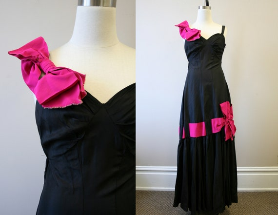 1940s New York Creations Black Evening Dress with