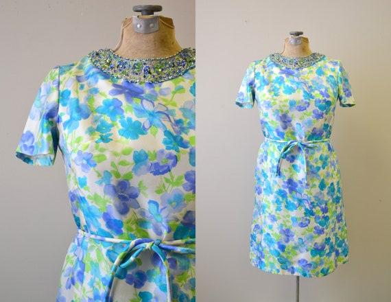 1960s Nat Kaplan Silk Floral Bejeweled Dress and T