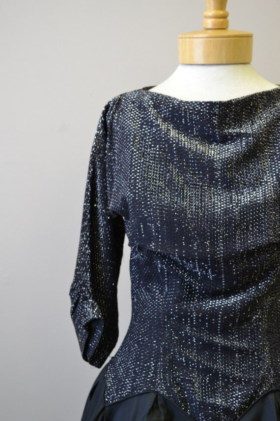 1980s-does-1950s Black and Silver Formal Dress - image 2