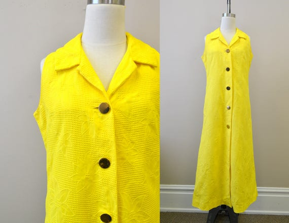1960s Nelly de Grab Yellow Sleeveless Dress