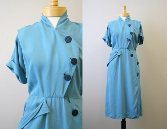 1940s Blue Asymmetrical Dress