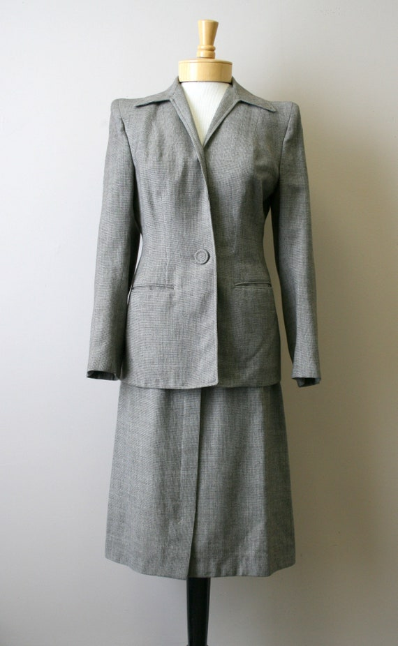 1940s Brown Mini Houndstooth Wool Skirt Suit - image 3