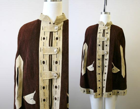 1970s Brown Suede Leather Cape