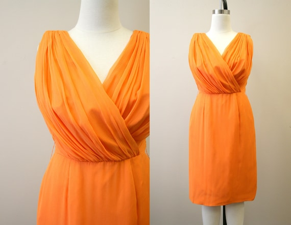 1960s Lilli Diamond Orange Chiffon Wiggle Dress