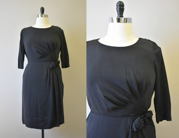 1950s Black Rayon Dress with Rosettes