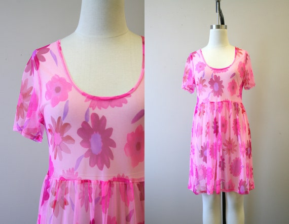 1990s Pink Floral Mesh Baby Doll Dress