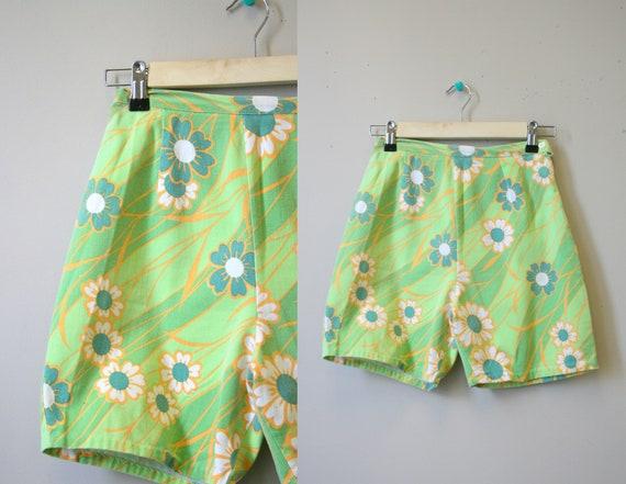 1960s Floral Cotton Denim Shorts