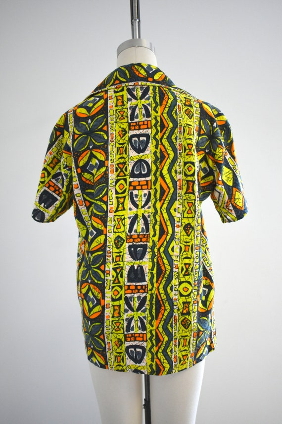 1950s/60s Tiki Barkcloth Men's Shirt - image 5