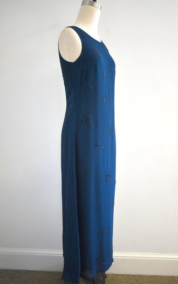 1990s Laura Ashley Navy Beaded Chiffon Maxi Dress - image 4