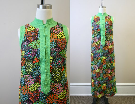 1960s Floral Maxi Dress with Quilted Trim