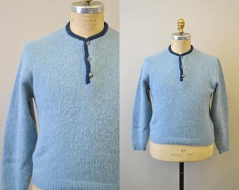 1960s Blue Fuzzy Sweater