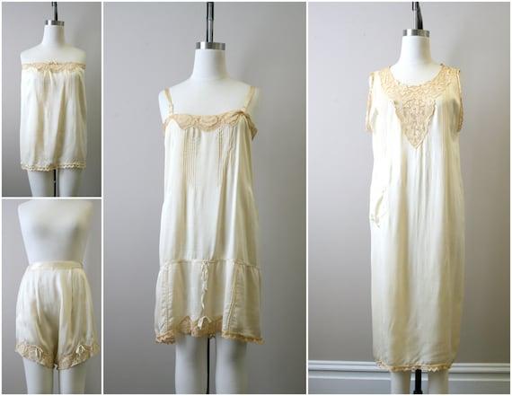1920s Four Piece Cream Silk Lingerie Set