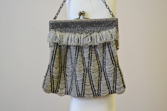 1920s/30s Clear and Black Beaded Purse - image 2