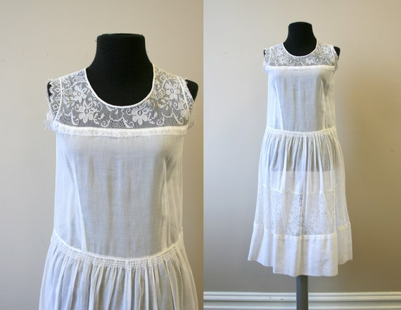1920s White Voile and Lace Dress