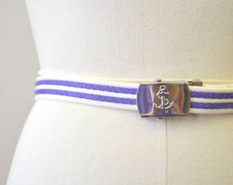 1980s Anchor Blue and White Canvas Belt
