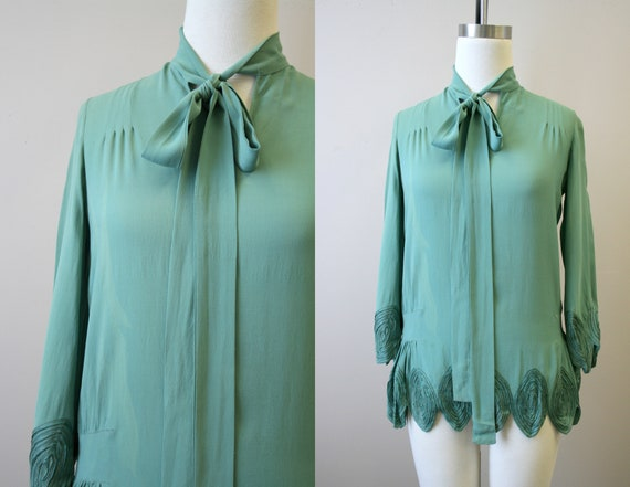 1920s Green Tunic Blouse