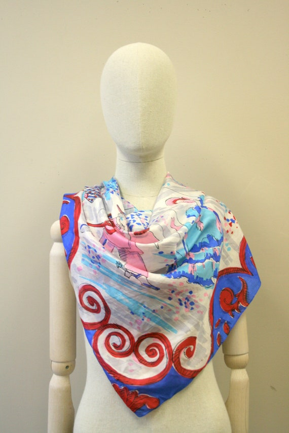 1940s Marionettes Silk Scarf - image 2