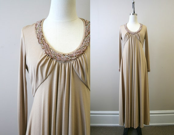 1970s Taupe Beaded Knit Maxi Dress