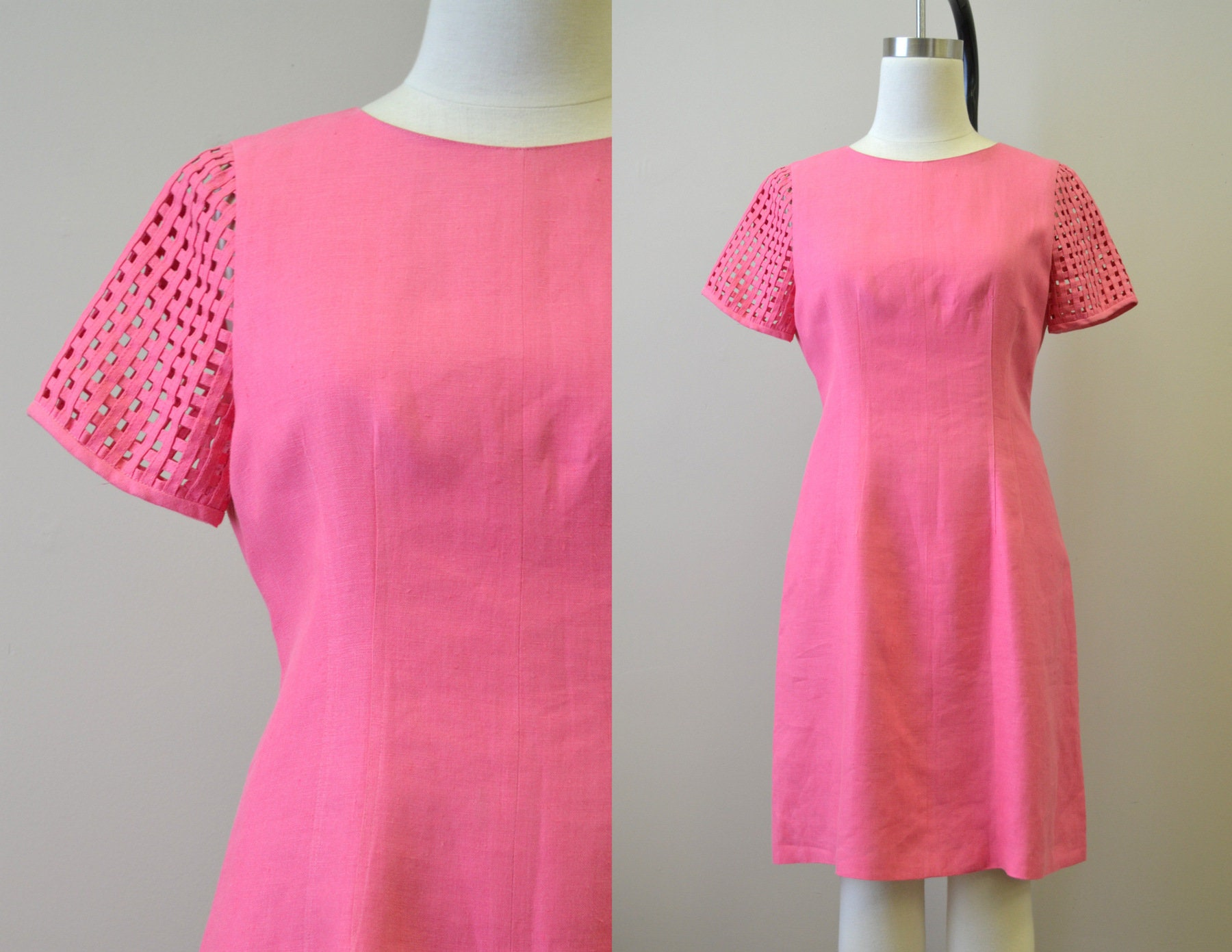 80s Dresses | Casual to Party Dresses 1980S Chetta B Pink Linen Dress With Cage Sleeves $48.00 AT vintagedancer.com