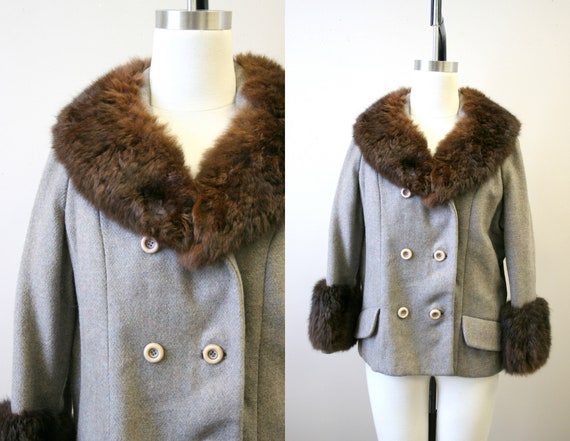 1960s Gray Herringbone Wool Jacket with Fur Collar