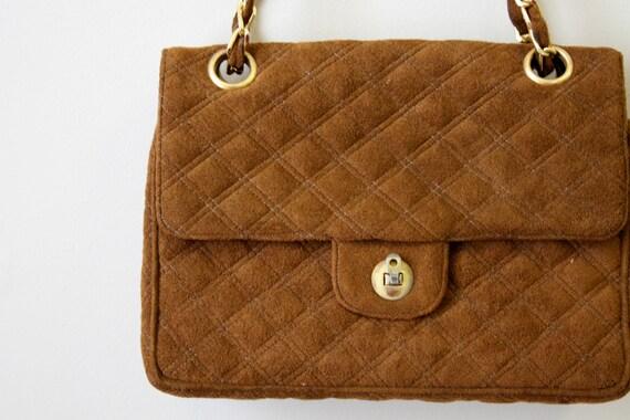 1960s Coblentz Brown Quilted Ultrasuede Handbag