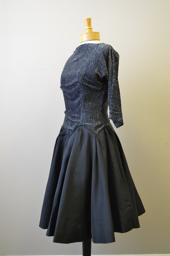 1980s-does-1950s Black and Silver Formal Dress - image 4