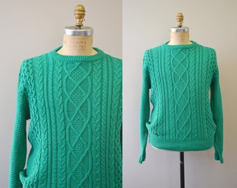 1980s Lord Jeff Green Cotton Cable Knit Sweater
