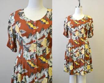 1980s Autumn Floral Rayon Dress