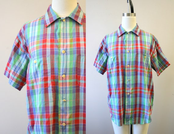 1980s Ralph Lauren Cotton Madras Oversized Shirt