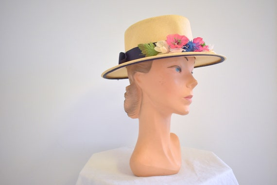 1940s/50s Floral Straw Hat