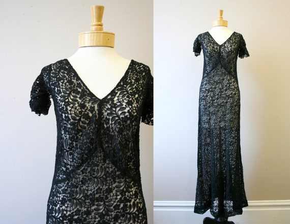 1930s Black Sheer Lace Dress