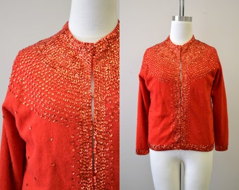 1960s Red Sequinned Cardigan Sweater