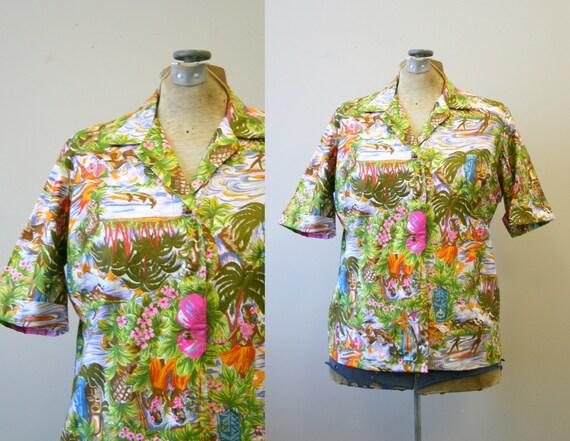 1950s McInerny Hawaiian Print Cotton Blouse