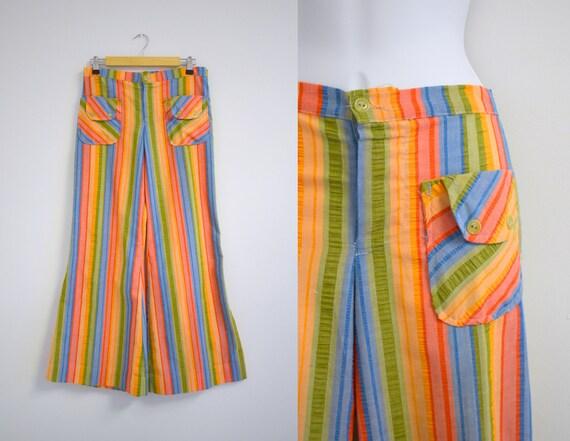 1970s Bright Striped Seersucker Wide Leg Pants