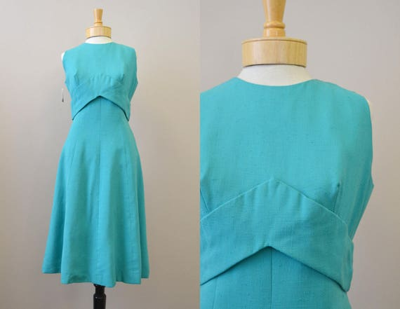1960s Pauline Trigere Green Dress
