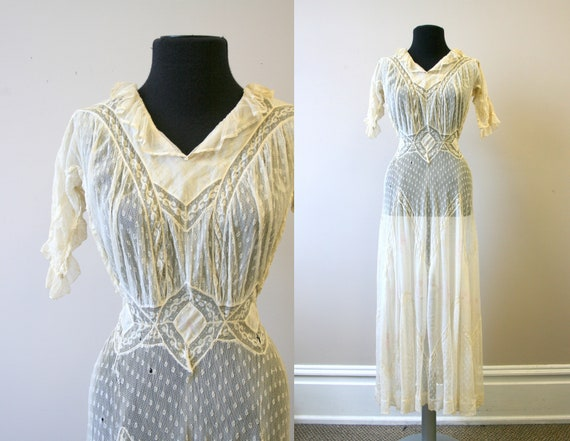 Edwardian Lace and Floral Lawn Dress
