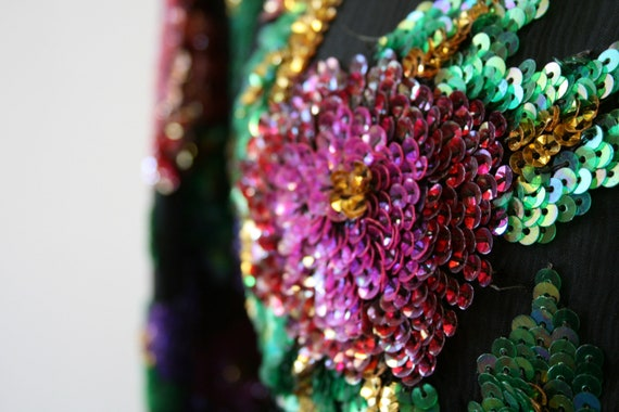 1980s Sequined Floral Blouse - image 6