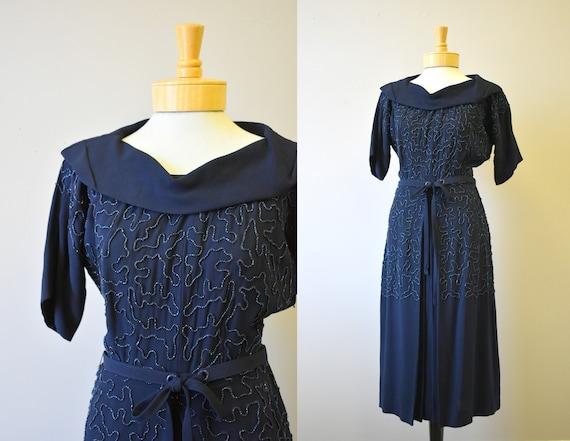 1940s Navy Blue Carnival Beaded Rayon Dress