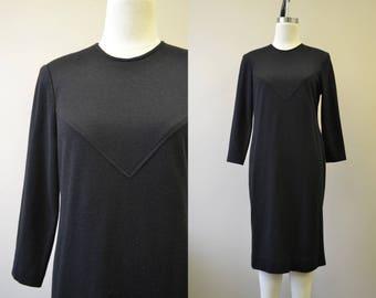 1970s Henry-Lee Petites Black Knit Dress
