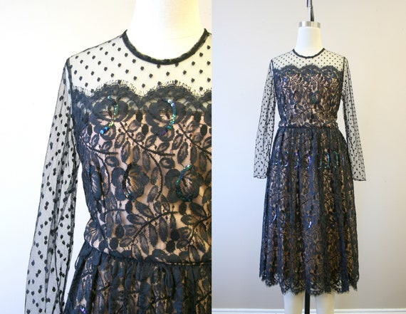 1980s-does-50s Black and Nude Lace Dress