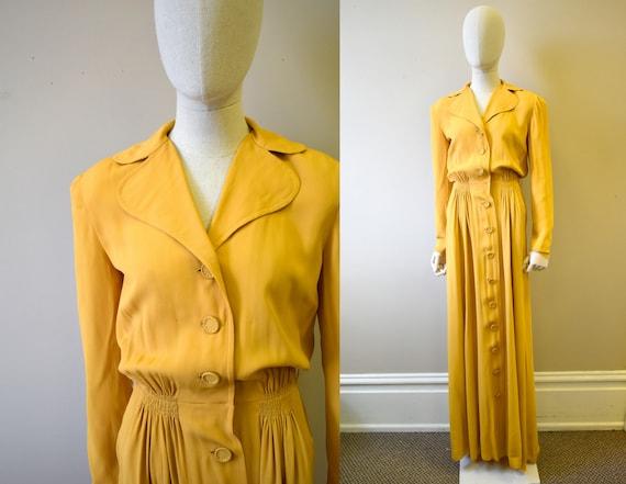 1940s Mustard Rayon Crepe Dress