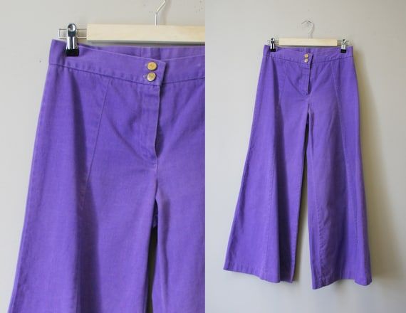 1970s Purple Denim Bell Bottoms - image 1