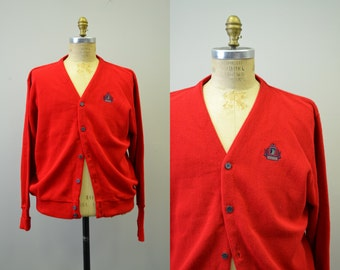 1980s Izod Red Cardigan Sweater